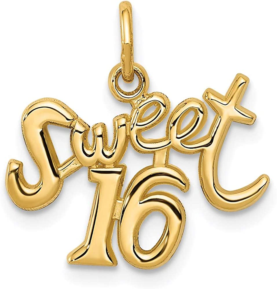 14k Yellow Gold Sweet Sixteen Girl 16 Birthday Pendant Charm Necklace Special Occasion Fine Jewelry For Women Gifts For Her