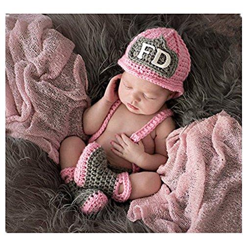 Fashion Newborn Boy Girl Baby costume Knitted Photography props vigili del fuoco cappello pantaloni
