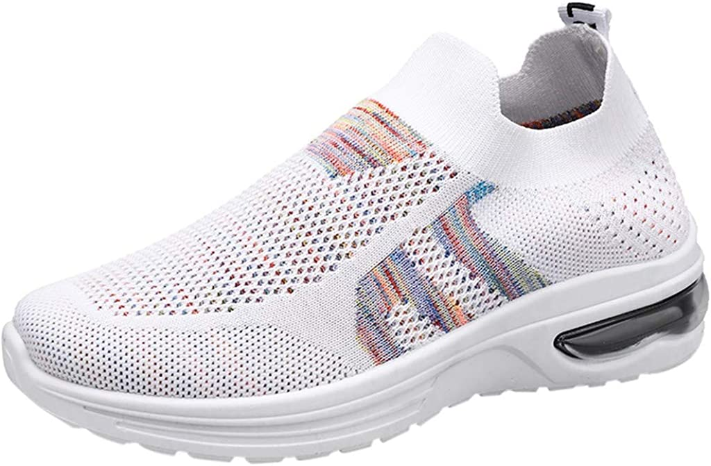 Women Ultra Comfy Knit Sneaker Casual Sport Shoes Lightweight Runing Walking Shoes Breathable Soft Sole Slip on White