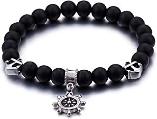 The Bling Factory Stainless Steel Black Lava Rock Steer Helm Charm Bracelet + Jewelry Cloth & Pouch