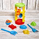 Vinsani® Children Kids Sand & Water Mill Play Set Sandpit Garden Beach Toy Watering Can Moulds