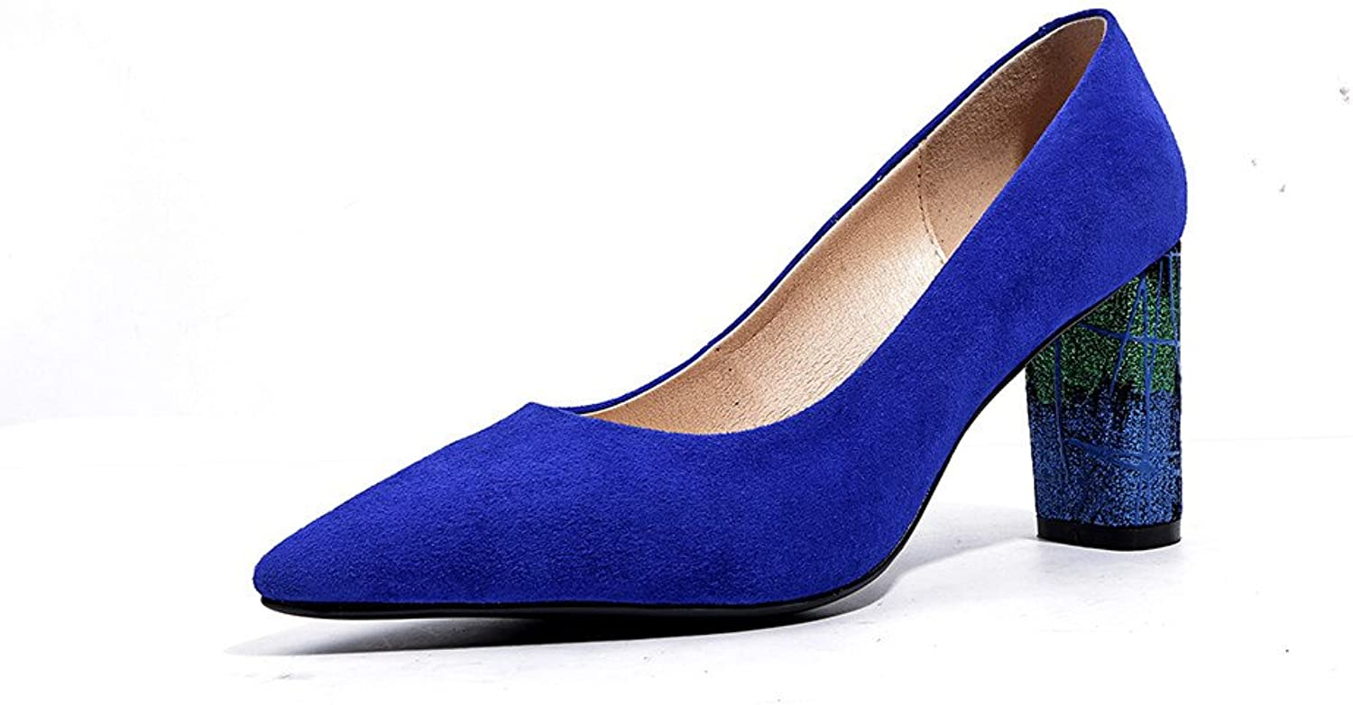 Nineseven Suede Leather Women's Pointed Toe High Heel Handmad Slip On Concise Pumps