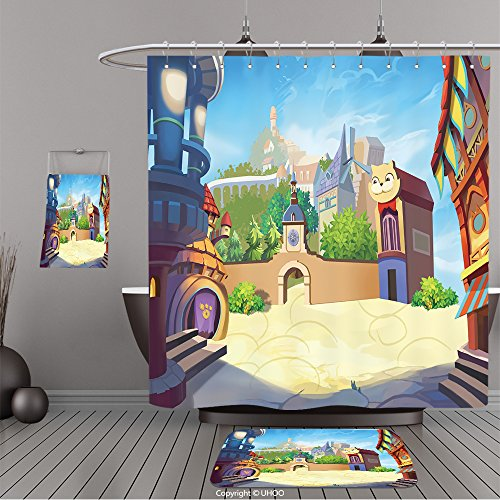 Uhoo Bathroom Suits & Shower Curtains Floor Mats And Bath Towels 381535660 Creative Illustration and Innovative Art A Small Town By The Sea. Realistic Fantastic Cartoon Style Artwork Scene, Wallpaper,
