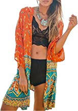 Women's Casual Back Lace Patchwork Chiffon Kimono Cardigan Blouse Swimsuit Beachwear Cover Up