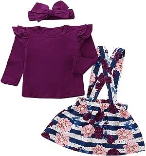Little Girl Dress 1-5T Toddler Girl Ruffle Top + Floral Suspenders Skirt + Headband Autumn Winter Outfits Set
