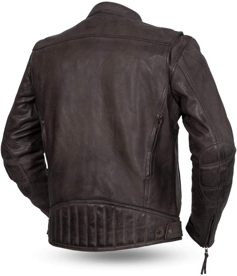 First MFG Co - Top Performer Mens Motorcycle Leather Jacket Black, 4X-Large
