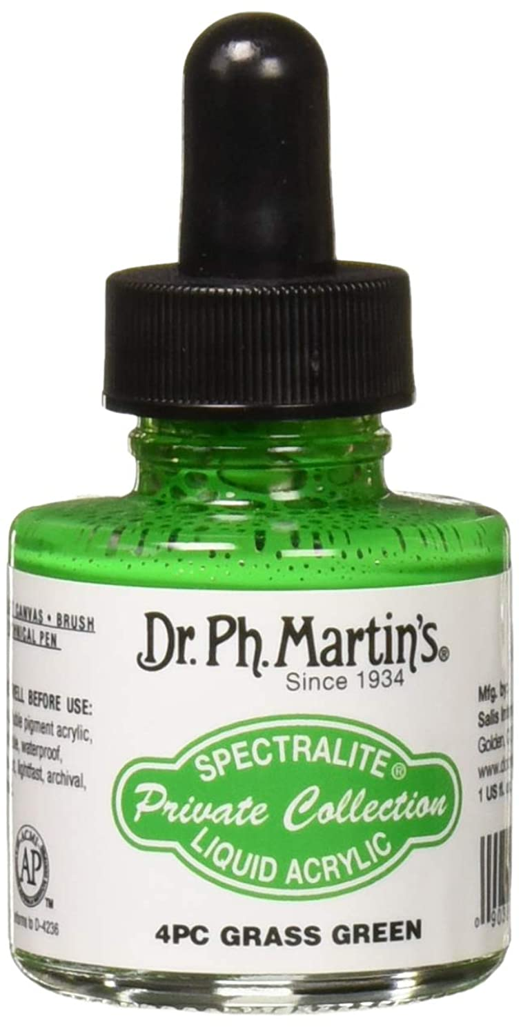 Dr. Ph. Martin's SPEC10OZS4PC Spectralite Private Collection Liquid Acrylics (4PC) Arcylic Paint Bottle, 1.0 oz, Grass Green