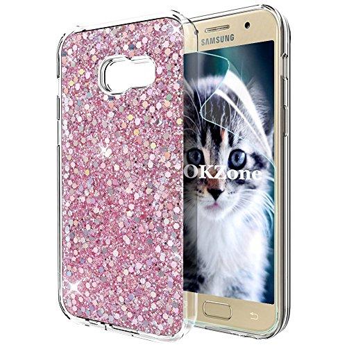 OKZone Cover Samsung Galaxy A5 2017, Custodia Lucciante con Brillantini Glitters Ultra Sottile Designer Case Cover per Samsung Galaxy A5 2017 (Rosa)