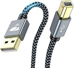 Câble Imprimante USB, [2M] Câble USB 2.0 A Mâle vers B Mâle, Cordon Scanner Tressé en Nylon Haute Vitesse Compatible avec ...
