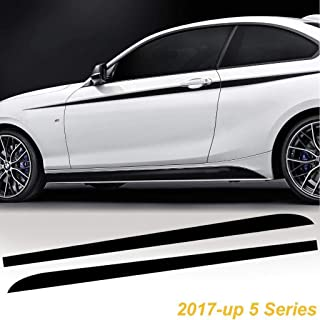 Car Exterior Decor - Xotic Tech M Performance Side Skirt Stripe Sticker Decal fit BMW 5 Series 2017-up G30 G31-2pcs Matte Black