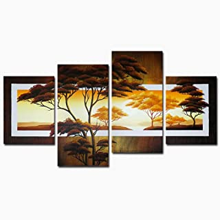 Wieco Art Beautiful Sun Trees Oil Paintings on Canvas Wall Art Ready to Hang for Living Room Bedroom Home Decorations Modern 4 Piece Stretched and Framed 100% Hand Painted Pretty Landscape Artwork