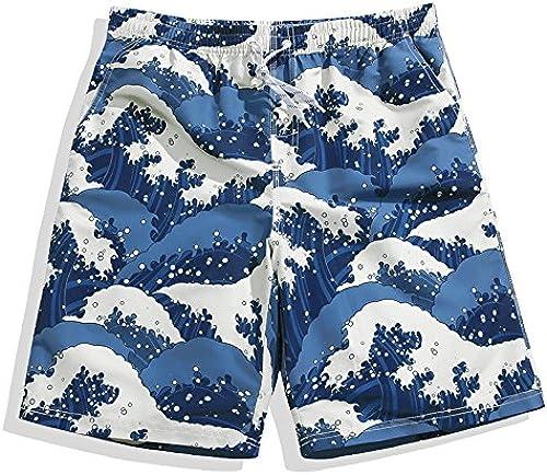 OME&QIUMEI Plage Sèche Pantalons Hommes'S Maillot De Bain bleu Camo courtes Pantalon De Surf De Timbres