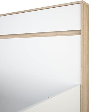 Demeyere Selena Lit Adulte 140x190 cm 2 Personnes, Panneaux de Particules 18mm, Chêne Brossé/Blanc Perlé, 206,7x147,9x98,2 cm