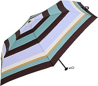 Nifty Colors(ニフティカラーズ) 折りたたみ傘 マルチボーダーカーボン軽量ミニ55 ブラウン