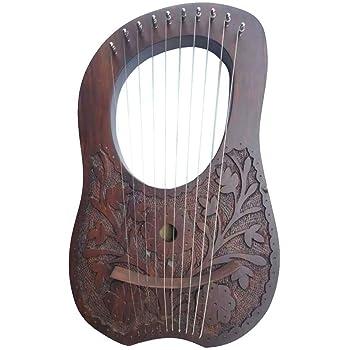 Harpe en bois de rose gravée d'angle fabriquée avec du bois véritable et 10 cordes en métal | Harpe de haute qualité instrument de musique pour débutants, enfants, adultes