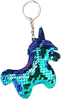 Song Qing Unicorn Keychain Glitter Sequins Key Ring Gifts Charms Bag Accessories Key Chain