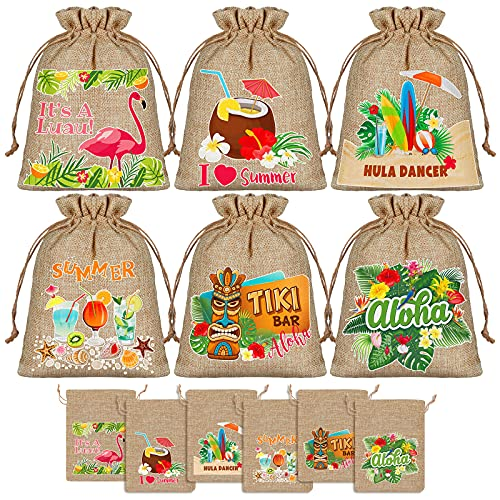 ADXCO 12 Pieces Hawaiian Party Printed Burlap Bags Flamingo Burlap Bags Hawaiian Luau Aloha Party Gift Bags Burlap Jute Gift Bags with Drawstring Gift Bags Candy Bag