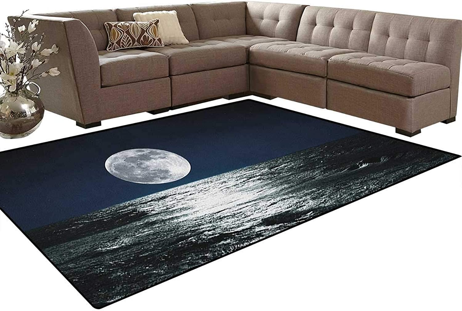 Big Moon and Its Reflection on The Sea Open Sky Ethereal Drawing Style Floor Mat Rug Indoor Front Door Kitchen and Living Room Bedroom Mats Rubber Non Slip