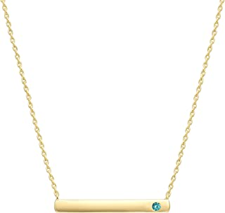 14K Gold Plated Swarovski Crystal Birthstone Bar Necklace | Dainty Necklace | Gold Necklaces for Women |