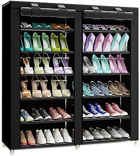 TOPINCN Estante para Gabinete Zapatos Inicio Pl/ástico Ahuecado Dos Capas Zapatos Estante Bisagras Gabinetes Cajones Blanco