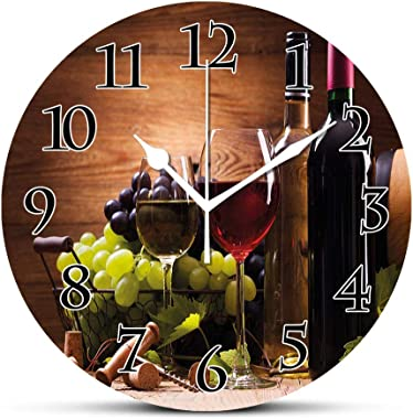 Wine Silent Wall Clock Glasses of Red and White Wine Served with Grapes French Gourmet Tasting Desk Clock Round Unique Decora