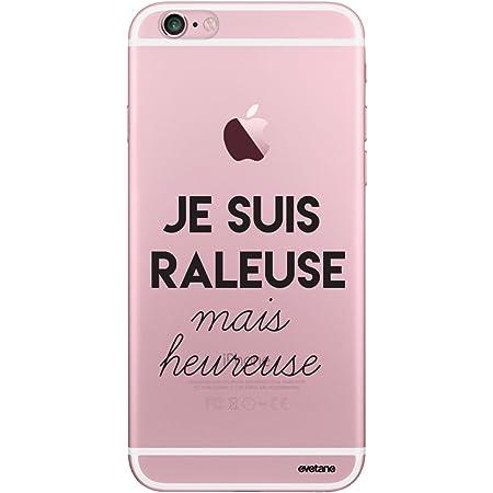 Evetane Coque Compatible avec iPhone 6/6S Transparente Rigide Solide Raleuse mais Heureuse Ecriture Motif Tendance