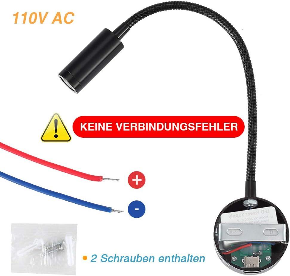 lampada da parete flessibile Lampada da parete plug-in da letto con porta di ricarica USB 3 W bianco caldo colore nero lampada da parete a LED