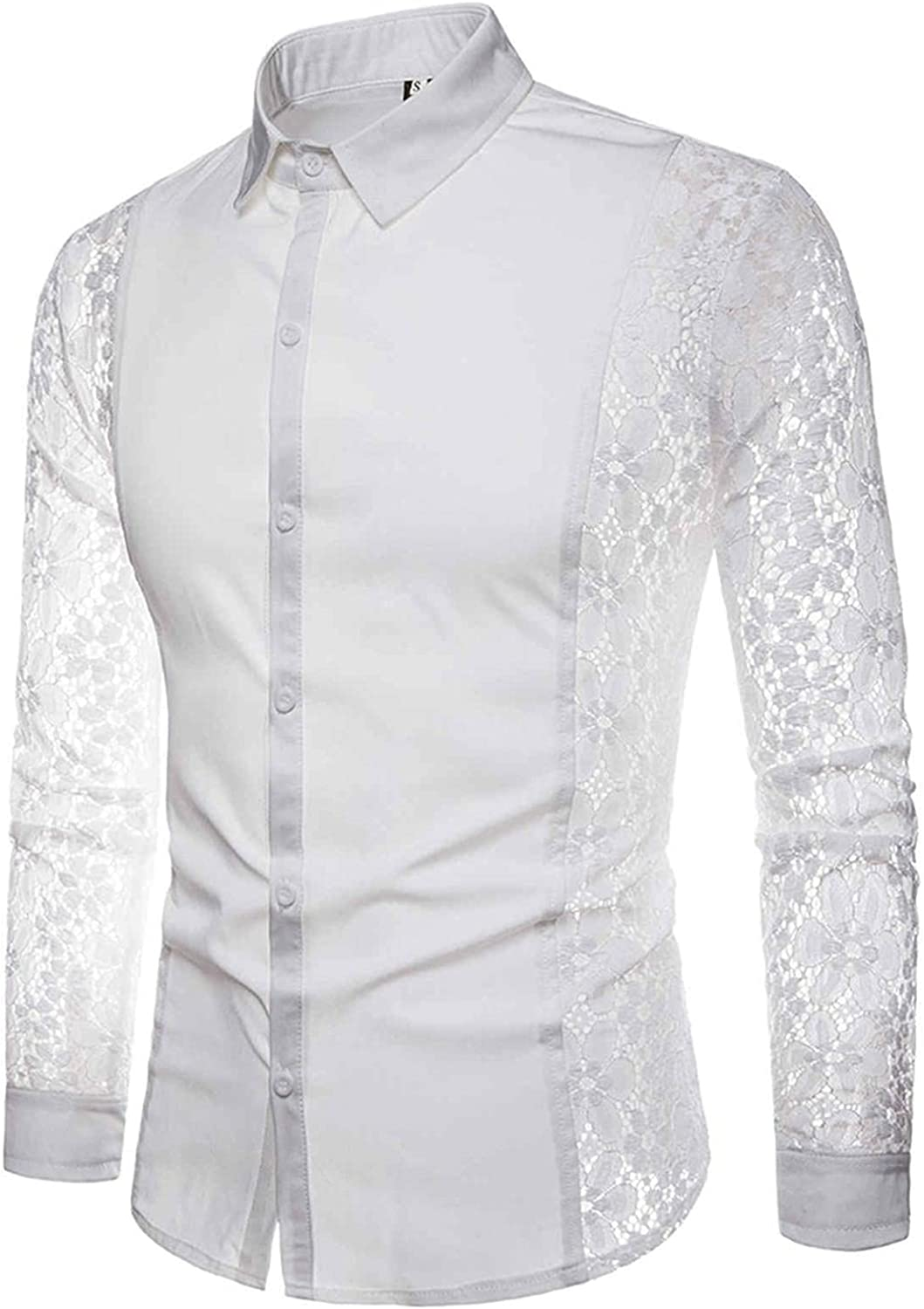 Mens Mesh Shirts Long Sleeve See Through Flower Button Down Sweatshirts Style Fishnet Hollow Lace Blouse Tops