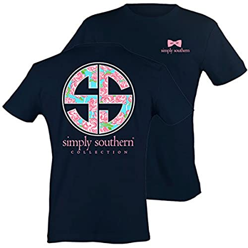 48381839 Simply Southern Tees Short Sleeve Preppy Navy Shirt with Rose Logo
