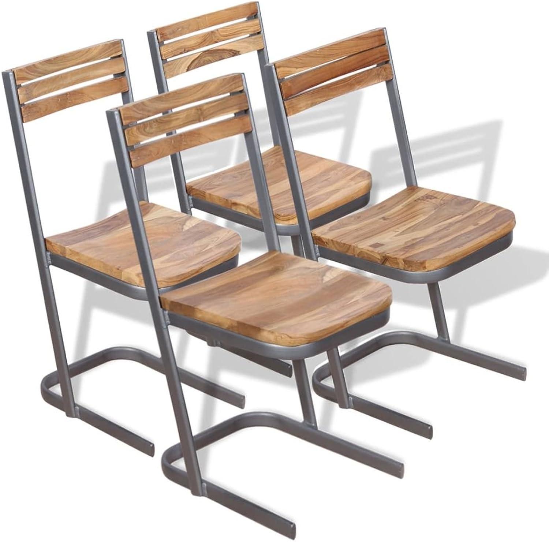 VidaXL 4X Solid Teak Wood Dining Chairs Kitchen Furniture Seats Iron Frame