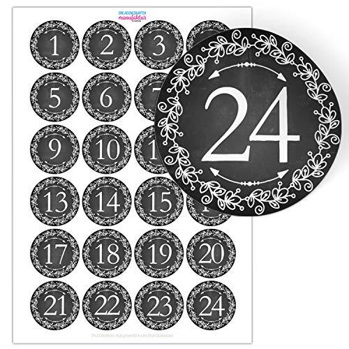 Adventskalender-Zahlen Aufkleber 1 bis 24 / schwarz weiss, große Zahlen/Weihnachtskalender Etiketten rund/Advent/DIY/zum Aufkleben