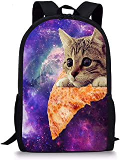 Galaxy Pizza Cat Kids Backpack School Children Book Bag Travel Rucksack Lightweight Daypack for Boys Girls 17 Inch