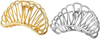 Ovche Gold Shell/Fan Hair Clips No Slippage Metal Hair Claw Hair Clamp Grip for Thick Hair Jaw Comb Hairclips Hair Catch with Teeth Hair Updo Grip for Bath,SPA,Washing,Makeup (Gold+Silver)