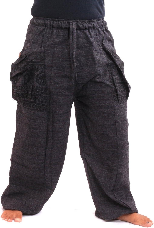 Jing shop Women's Harem Pants Boho Hippie Print Large Pockets Cotton