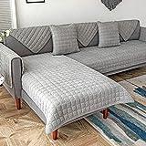 Homeen Multi-Größen Abschnittsweise Sofabezug Vier Jahreszeiten universell Möbelschutz, Nach Stück verkauft, Verdicktes Cord Sofa Pad-Grau_70×240cm