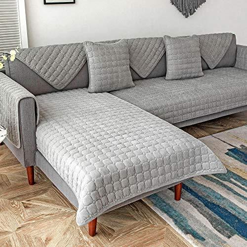 YUTJK 3-sits sofföverdrag för vardagsrum, soffa överdrag möbelöverdrag, mjukt tjockt jacquardtyg tvättbart, manchester varmt soffskydd, för fåtölj, grå