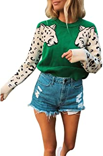Women's Casual Leopard Print Knitted Pullover Sweaters Long Sleeve Crew Neck Jumper Tops