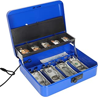 Jssmst Large Locking Cash Box with Money Tray, Metal Money Box with Combination Lock, Blue, SM-CB02305XL