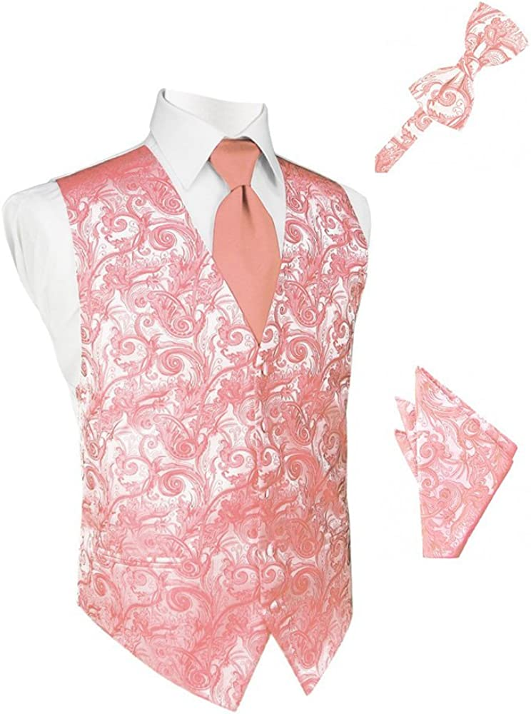 Coral Reef Tapestry Satin Tuxedo Vest with Long Tie Bowtie and Pocket Square Set