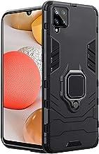 TheGiftKart Tough Armor Samsung Galaxy M42 5G Bumper Back Case Cover Ring Holder Kickstand in Built 360 Degree Protection Back Case Cover for Samsung Galaxy M42 5G Carbon Black