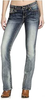 M4288B34 Medium Wash Mid Rise Embellished Boot Cut Denim
