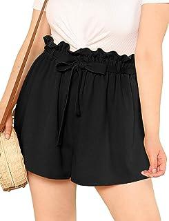 b71aefd631e Romwe Women s Plus Size Casual Elastic Waist Loose Walking Shorts