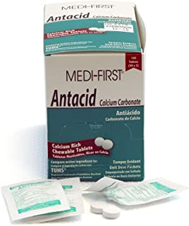Medi-First 80233 Chewable Mint Antacid Tablets, 50-Packets of 2