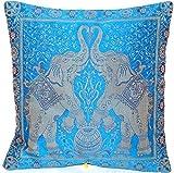 Blau Indische Banarasi Seide Deko Kissenbezüge 40 cm x 40 cm, Extravaganten Elefant Design für Sofa & Bett Dekokissen, Kissenhülle aus Indien. Angebot gültig solange der Vorrat reicht