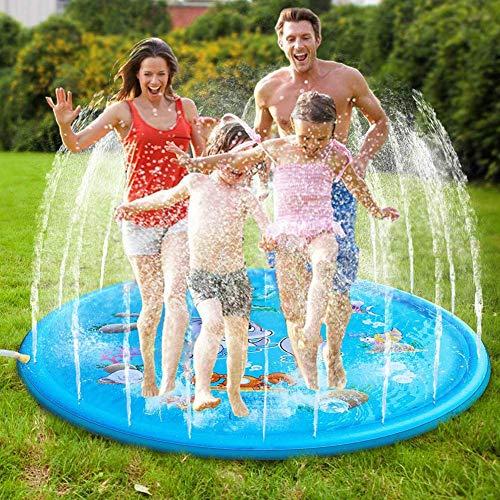 Inflable Splash Regadera Pad Para Niños Pequeños, Splash La Estera Del Juego, Kiddie Piscina Del Bebé, Juguetes De Agua Para Los Niños, Juguetes Al Aire Libre Para Niños Pequeños,Azul,100x100cm