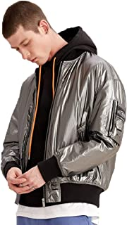 Outerwear Men's Cotton Jacket Winter Round Neck Warm Cotton Jacket Short Thickened Loose Cotton Jacket Couple Jacket Retro Tooling (Color : Silver, Size : 2XL)