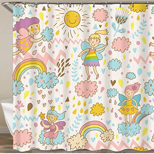 KGSPK Duschvorhang,Kindliche helle Feen auf Wolken im Himmel mit Sonne Regenbogen Herzen Blumen,Wasserfeste Bad Vorhang aus Polyestergewebe mit 12 Haken Duschvorhang 180x180cm