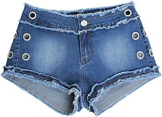 DingXW セクシーなホットファッションユニークな春と夏の新しい弾性生ショートパンツフリンジコーンジーンズ女性のウエストのホットパンツ (Color : Blue, Size : XXXL)