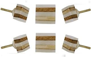 Set of 6 Cabinet Knobs Bone Striped Square Handmade Drawer Pull Diameter 1.3
