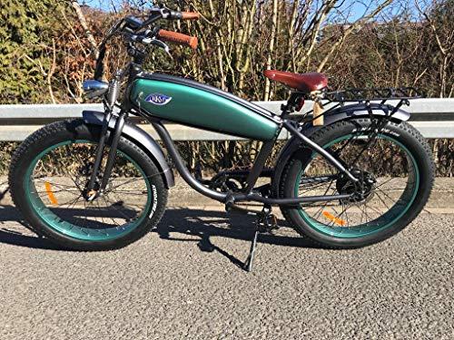 RKM Roller-King-Motors Retro Elektro EBike E Cruiser Fahrrad Pedelec Beachcruiser Fatbike Chopper Electro (Grün/weiß)